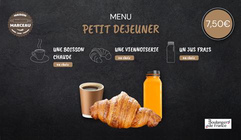Notre solution d'affichage dynamique permet aussi d'afficher un petit déjeuner